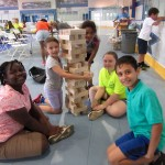 Campers and the staff played a gigantic size jenga!