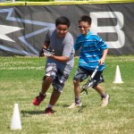 These kids played lacross and the person who carried the ball home is the winner!