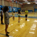 Camp Shriver kids have an option to play indoor such as basketball or jump rope! Which this girl is impresses by her friends and the staff of her skills of jump rope.