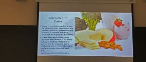 Students get a sense of where calcium and dairy comes from on the left slide of slideshow in words. On the right, students get a visual of cheese, broccoli, nuts and milk.