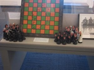 This is a chess board with the porn as senators