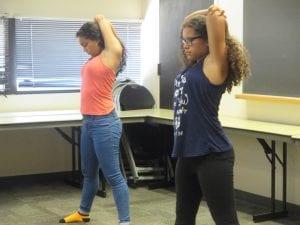 Girls doing some exercise.