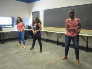 This girls were practicing for their dance.