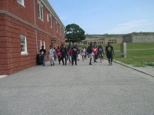 The Urban Scholars walking over to the ship.