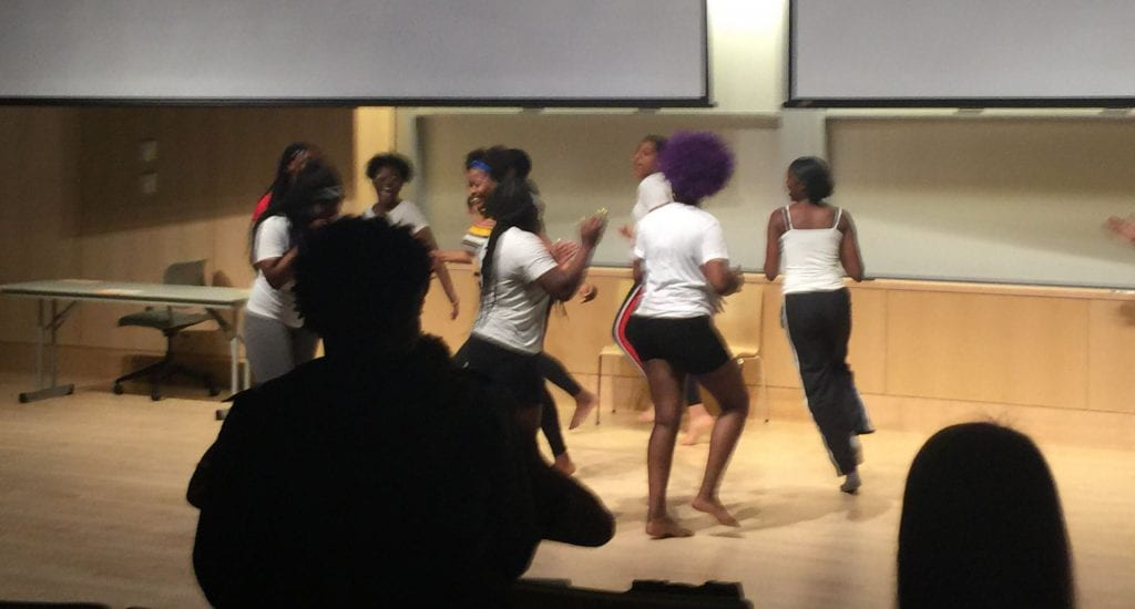the students are doing a dance routine