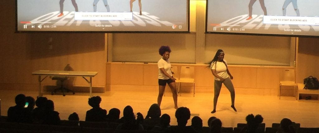 2 students perform a dance made themselves