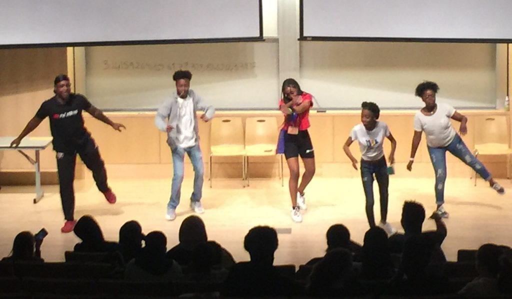 the students do a dance routine