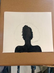 Black painted silhouette on paper, on a canvas.