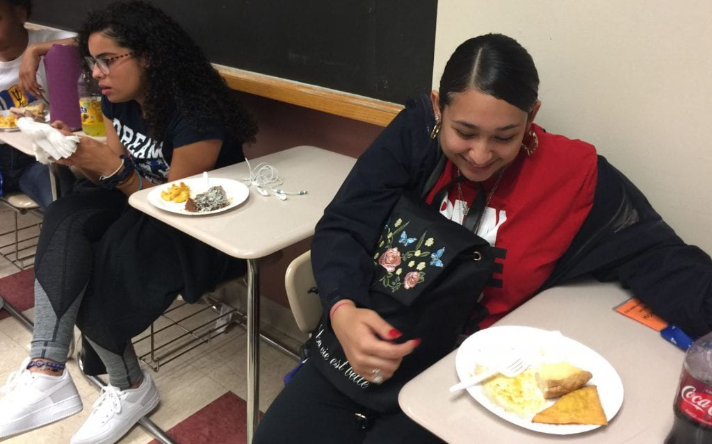 students enjoy the food