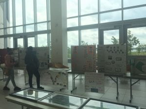 Projects from each class are presented and students and parents walk around to see the work.