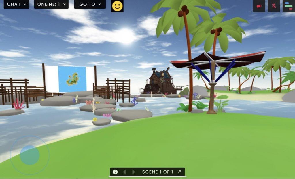 Virtual island alternate view in FrameVR