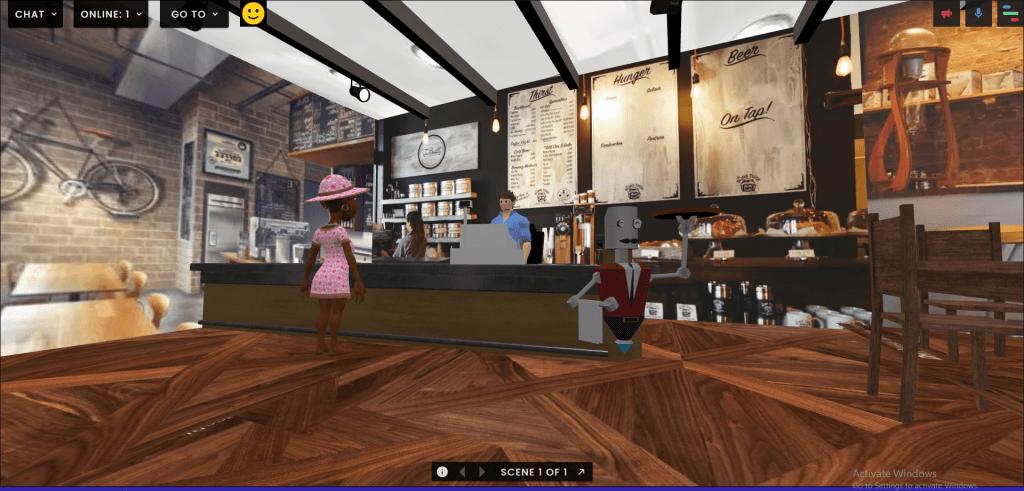 PhuongAn Bui's virtual coffee shop in FrameVR