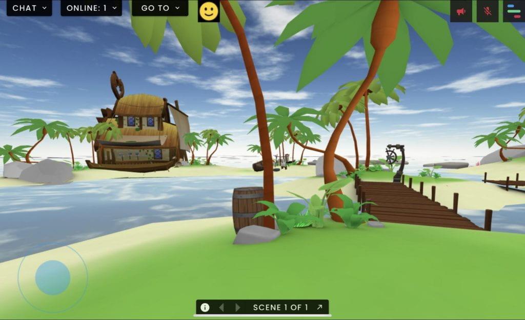 Virtual island coconut trees in FrameVR