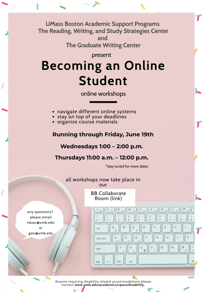 Flyer for Becoming an Online Student workshop Wed 1-2 Thur 11-12
