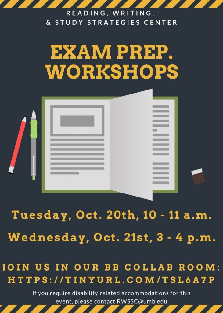 Flyer for exam prep Tues 10/20 10-11am and Wed. 10/21 3-4pm