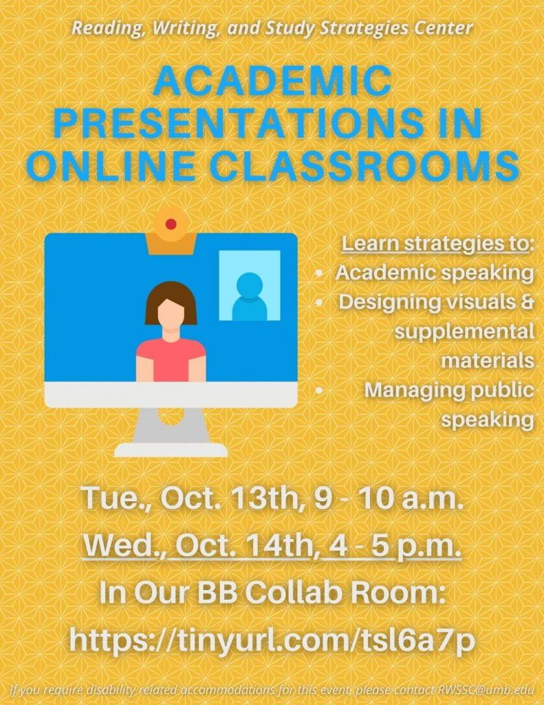Academic Presentations Flyer advertising upcoming workshops