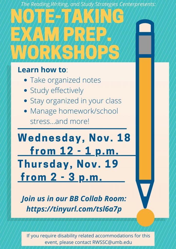 Note-Taking Exam Prep Workshop Flyer