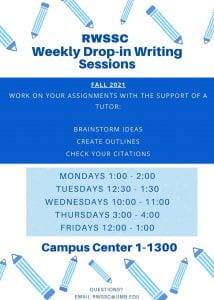 Flyer with dates/times of writing workshops