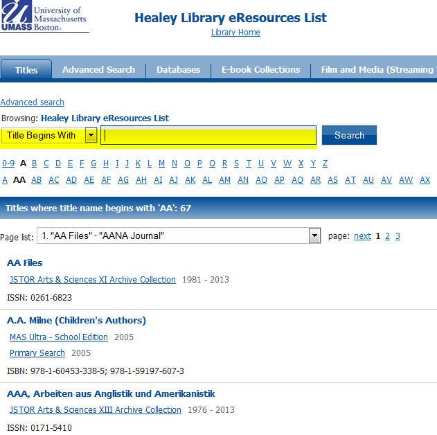 E-resources list