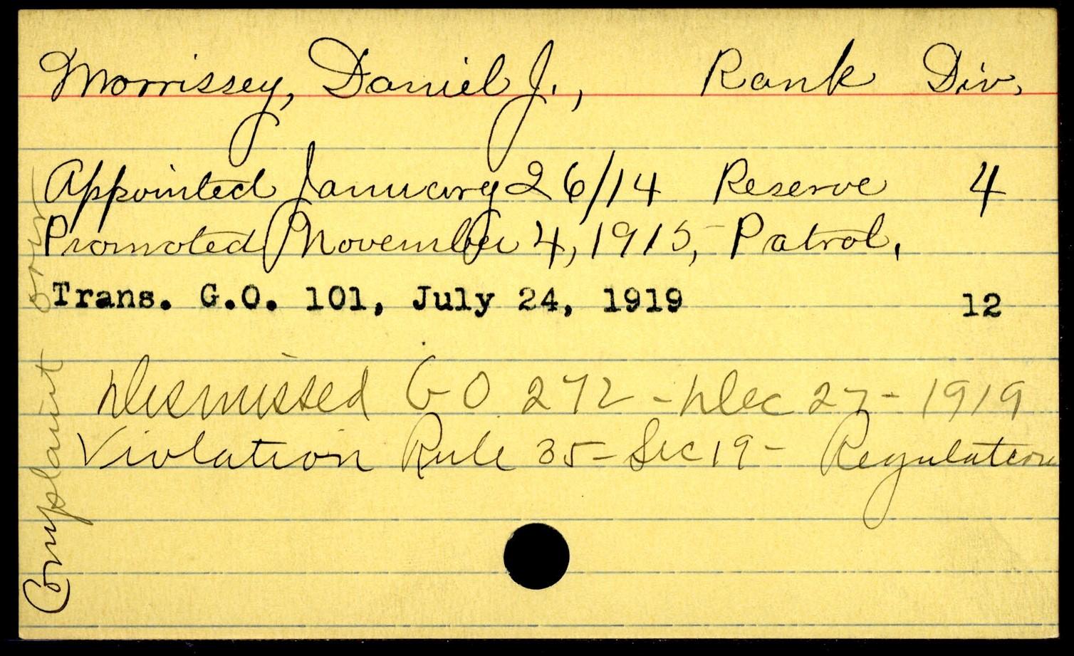 BPD Duty Card, 1919