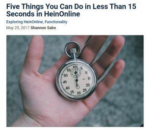 Five Things You Can Do In Less Than 15 Seconds in HeinOnline