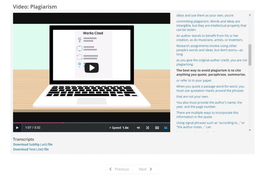 Screenshot of Credo Instruct Plagiarism Video with Transcript