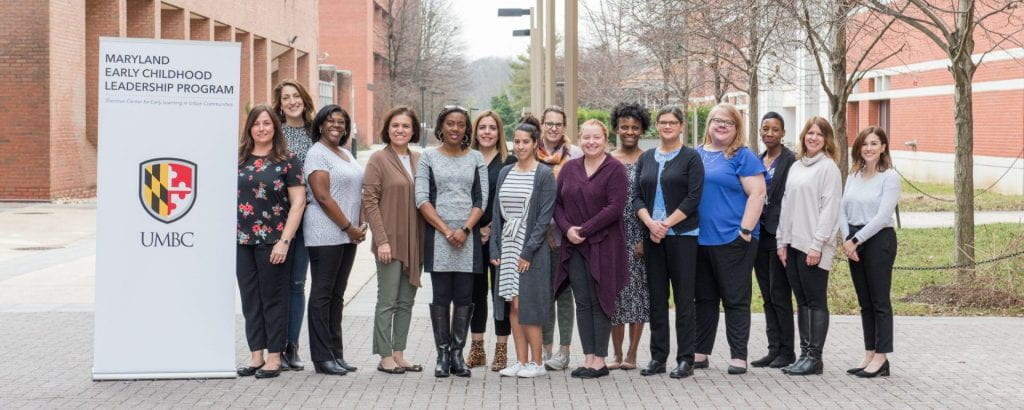 Below: Leadership Institute Executive Director and Professor Anne Douglass (fifth from right) and Leadership Institute Deputy Director Amanda Wiehe Lopes (fourth from right) with MECLP's first cohort of Early Education Leadership Fellows.