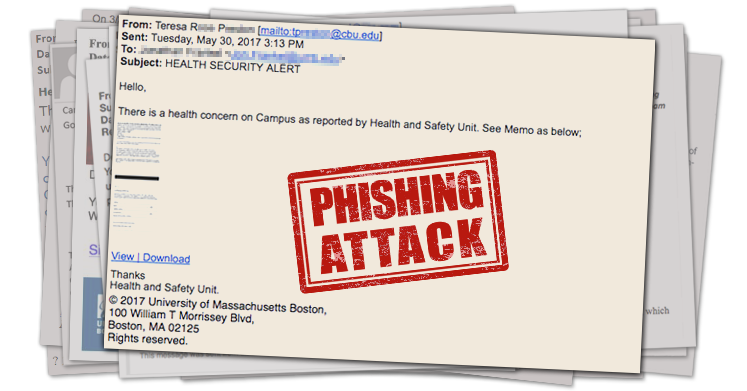 """Screenshot of phishing email with subject """"health security alert"""", and a link to view and download."""