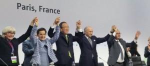 Participants celebrate Paris Agreement