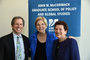 Senator Elizabeth Warren with Dean Cash and Director of CWPPP Ann Bookman at the 2nd Biennial New England Women's Policy Conference