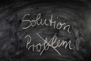 """""""Solution"""" written on blackboard"""