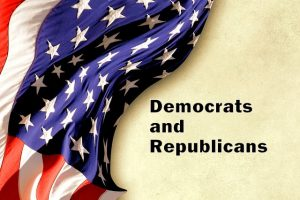 American flag with Democrats and Republicans printed on the side