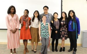 Professor Karen Ross (front center) with the Master's Project/Thesis Presenters. Image by: Jeffrey Pugh