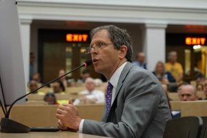 Dean Cash provides testimony in support of carbon pricing policies at the Massachusetts legislature, June 20, 2017