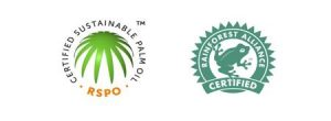 Roundatbale on Sustainable Pail Oil and Rainforest Alliance seals of approval
