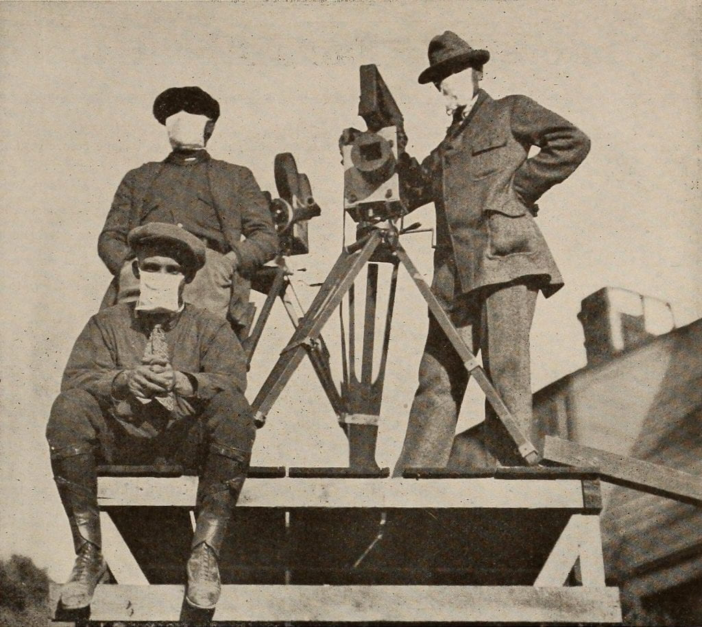Silent cameramen wearing face masks during the 1918 flu pandemic