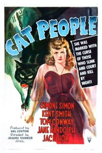 "Poster of Cat People (1942) shows a woman (Irena), juxtaposed with a panther behind her, with the title ""Cat People"" overhead and ""she was marked by the curse of thos ewho slink and court and kill by night! on the right. Bottom titles read"" Simone Simon, Kent Smith, Tom Conway"
