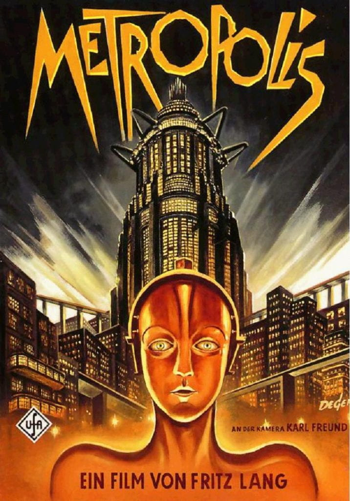 Metropolis promotional poster - depicts robot woman in from of skyscrapers, with the word METROPOLIS overhead