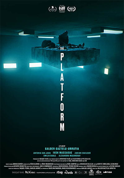 """The Platform movie poster shows 2 men in shadowy surrounding on a floating platform, above the words """"The Platform"""""""