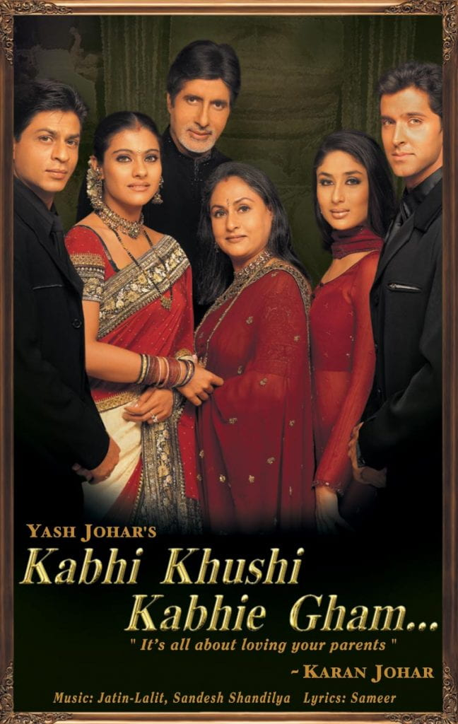 a family group of 6 people stands together with the movie title Kabhi Khushi Kabhie Gham below them