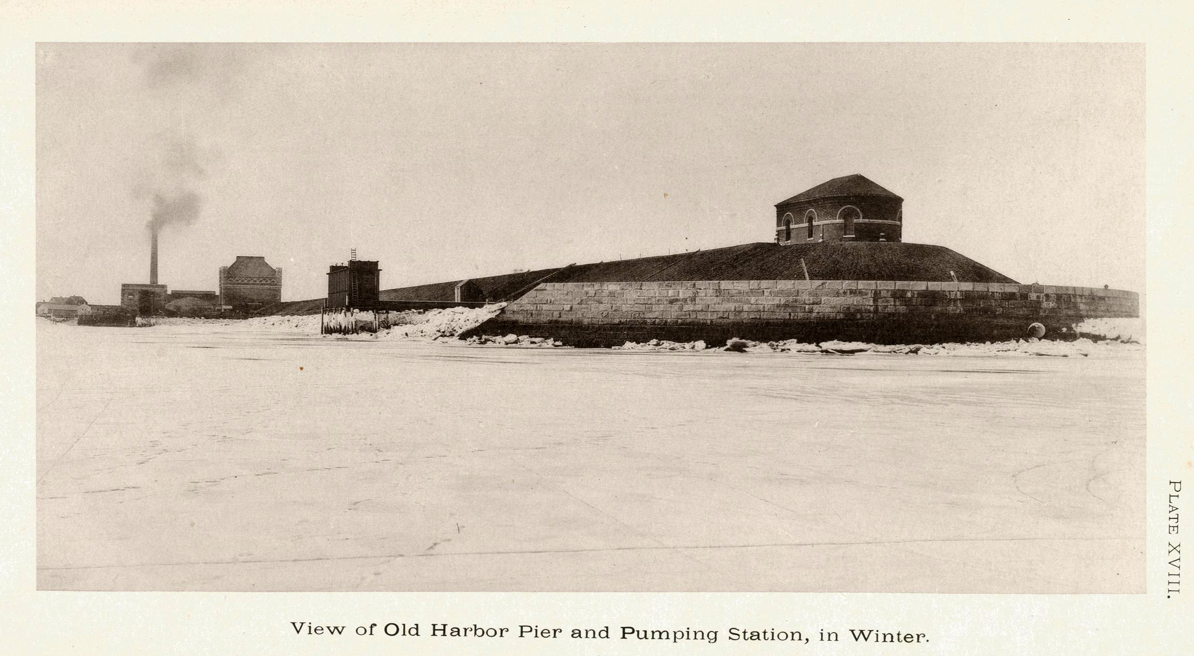 View of the Shaft building and Pumping Station circa 1880's. Photo from Main Drainage Works of Boston and its Metropolitan Sewerage District.
