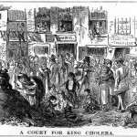 """""""King Cholera"""", an illustration of unsanitary urban conditions at the time of the outbreak."""