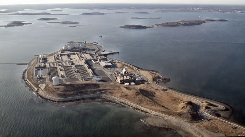 Aerial view of Deer Island in Boston Harbor, home of currently operating sewerage treatment facilities for Boston.