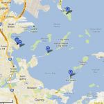 This map provides an overview of the location of the Calf Pasture Pumping Station in relation to the city of Boston and other connected sewage facilities.
