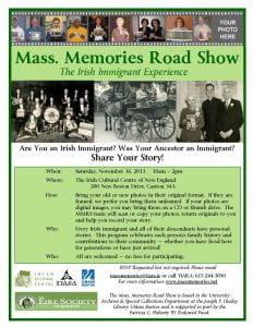 Irish Immigrant Experience Mass Memories Flyer Final