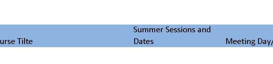 Summer Schedule – Draft Available