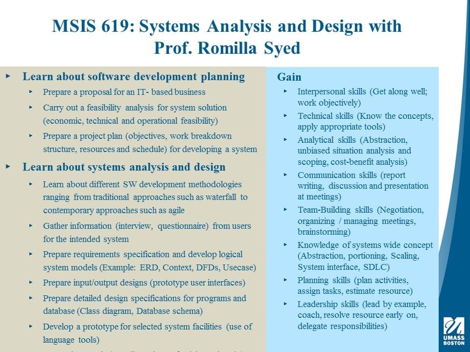 Spring 2019 Course Highlight Msis 619 Systems Analysis Design College Of Management