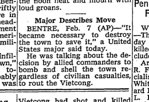 From the New York Times, Feb. 8, 1968, page 14.