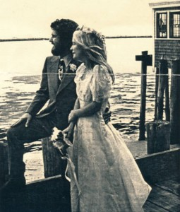 'Our wedding day, gorgeous warm November afternoon. On the deck overlooking Provincetown Harbor, 1971. Contributors: Deborah and Dennis Minsky.