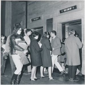 People outside the elevators in the lobby of the Arlington Street building in Park Square. UASC-UAPHO-0001-0096